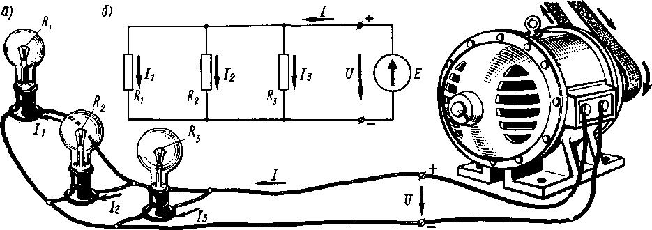 рисунок соединение лампочек параллельно