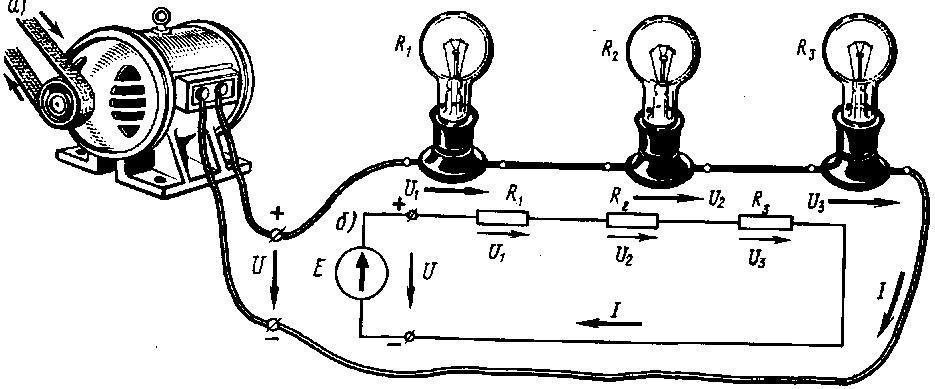 Рисунок с лампочками соединения