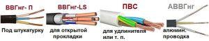 Типы кабелей и проводов