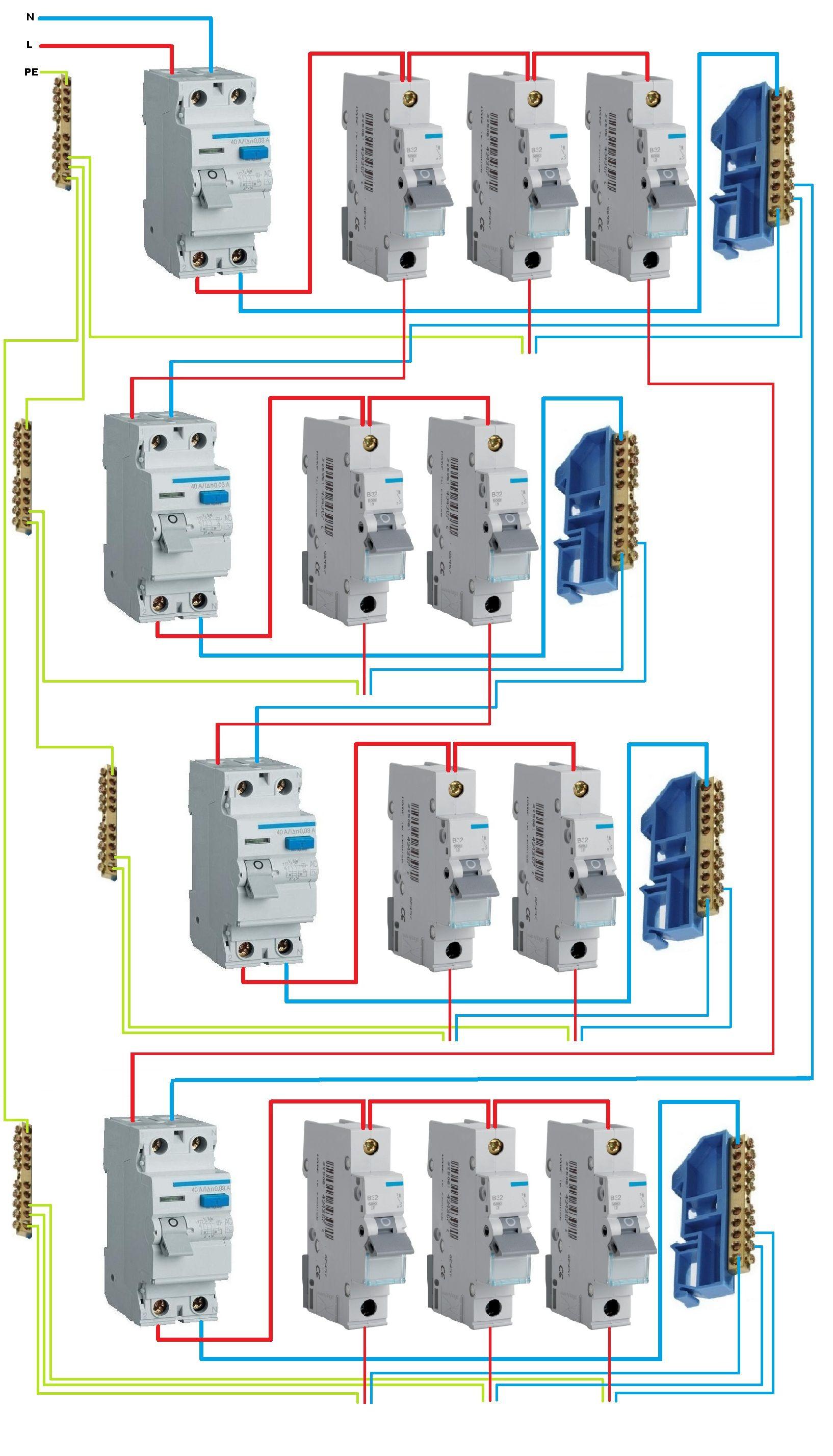 схема подключение диф.автомата