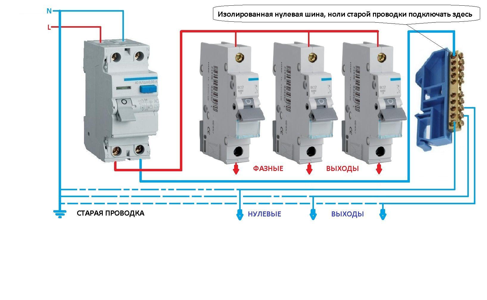 Схема диф. автомат легранд