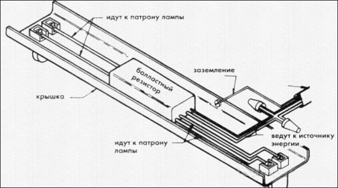 Схема светильника с лампой дневного света