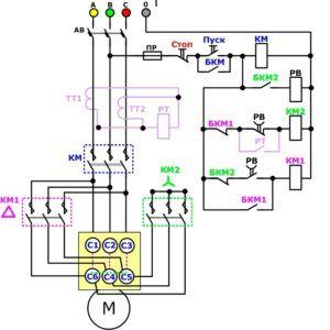Электродвигатель, подключение треугольником
