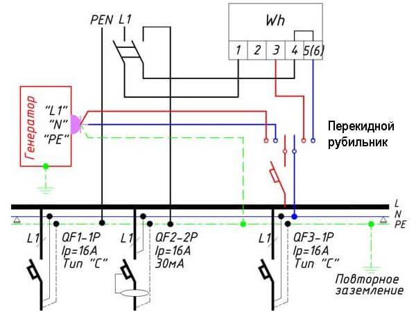 Схема подключения автоматики трехфазного генератора
